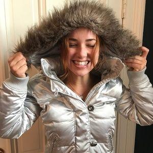 XS Silver Satin Gap Puffer Jacket w/ Hood